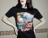 Harley Davidson Tshirt 1986 3D Emblem Patriotic Bald Eagle American Flag Black T Shirt Golden State San Jose Ca