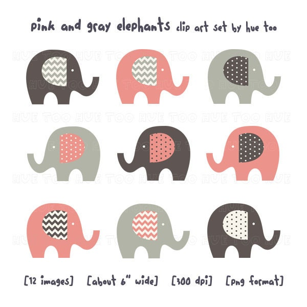 pink and gray elephant clip art girls chevron polka dots ...