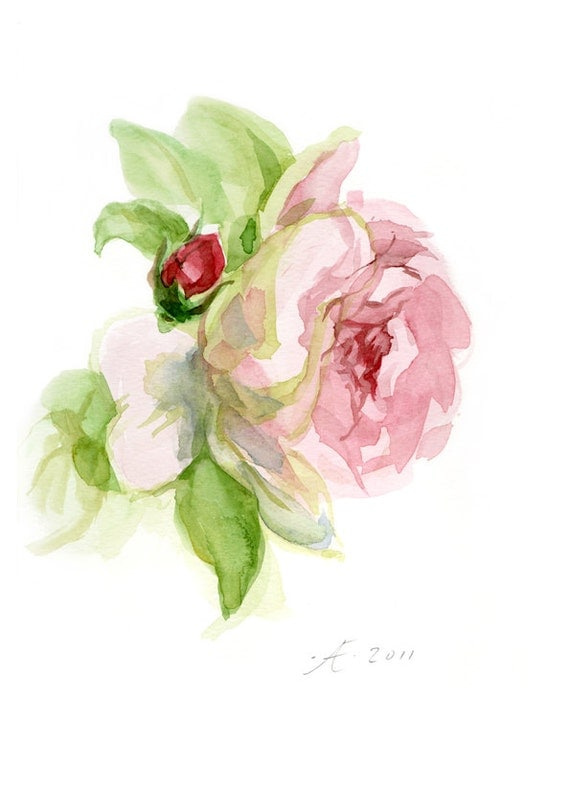 Tender Pink Rose Painting, Flower Fine Art print from original watercolor, nostalgic chic - wedding decor, mother's day