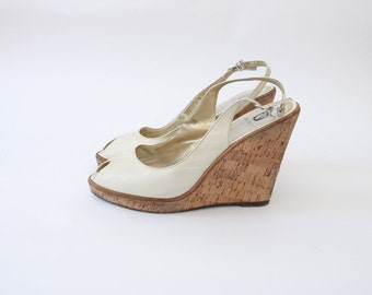 Vintage creamy  white leather peep toe sandal wedges / sling back