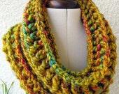 CROCHET Cowl PATTERN, Mustard Cowl, Chunky Scarf, Fast Gift DIY Craft Easy, Circle Scarf Instant Download Lyubava Crochet Pattern Pdf No.69