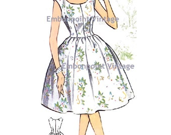 Plus Size (or any size) Vintage 1950s Dress Pattern - PDF - Pattern No 75 Jacqueline