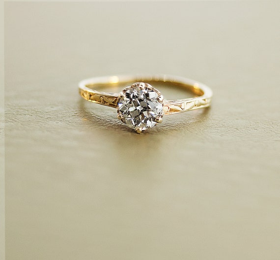 Antique Diamond Ring - 14k Yellow Gold Diamond Ring