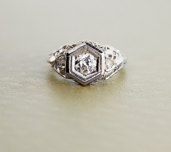 Items similar to Antique Diamond Filigree Engagement Ring 14K White Gold an