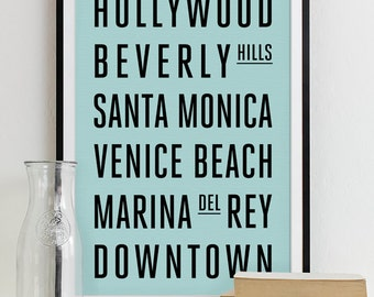 Los Angeles Subway Sign Wall Art Typography Poster - Modern Art Print California