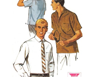 """1965 Vintage Men's Shirt, Pull-over Tiki Shirt or Long Sleeve with Button Cuff and Pleat Accents, McCall's 7909, Size Medium, Chest 38""""-40"""""""