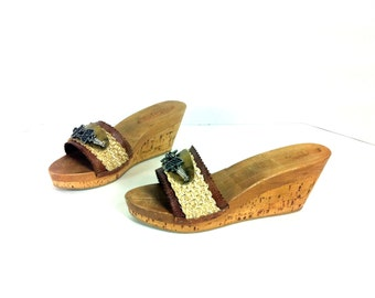 Platform Gypsy Leather Sandals 7 - Slip On Platform Mules 7 - Hemp Hippie Clogs 7