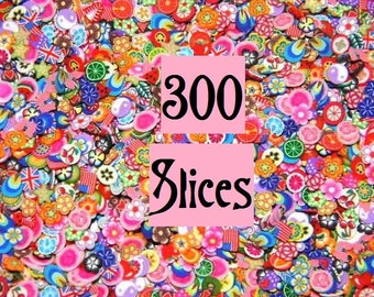 300 Nail Art Cane Slices for Kawaii Foods, Scrapbooking, and Dollhouse Miniatures, Decoden Supply