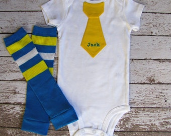 SALE Baby boy tie onepiece bodysuit and leg warmers set, Easter, blue and yellow, name, stripes, photo prop, birthday outfit, sport birhtday