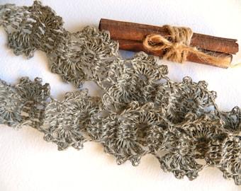 Crocheted Linen Edging, Lace Trim, Shabby chic Decorations, Wedding decor - Natural linen