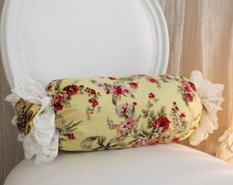 Shabby Chic Decorative Yellow Bolster Throw Pillow, Cover and Insert 1336