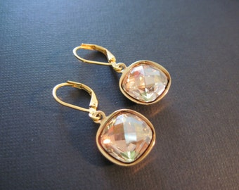 Golden Shadow Swarovski Earrings/ Bridesmaid Jewelry/ Bridal Jewelry/ Crystal Drop Earrings/ Champagne Earrings/Bridesmaid Earrings
