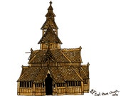 """Oslo Drawing Print of the Gol Stave Church, Norway ,illustration brown black white wall art home decor- Size A4/ 8,27"""" x 11,7"""" UNFRAMED"""