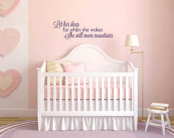 Let Her Sleep Removable Vinyl Wall Art, girls room wall art baby girl wall sticker nursery wall art for baby room little girl wall art decal