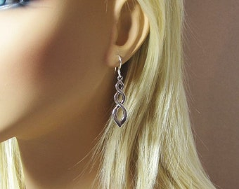 Infinity Earrings Antiqued Silver Plated Pewter