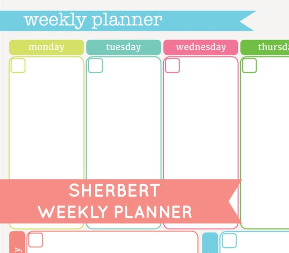 Weekly Planner Printable Kids Unavailable listing on etsy