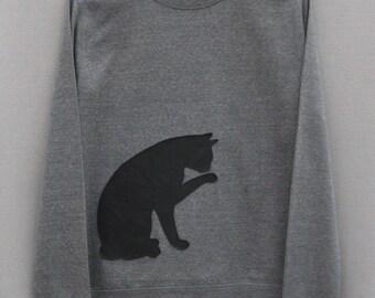 Leather Cat Jumper Grey Heather Lightweight Crew Neck Sweatshirt