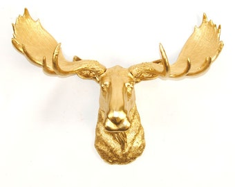 Faux Taxidermy Moose Head in Gold - The Elcide - Chic and Charming Animal Ornaments & 3D Wall Art Home Decor by White Faux Taxidermy