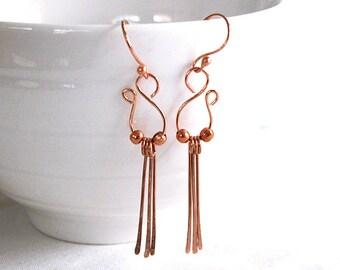 Copper dangle earrings / handmade E-75