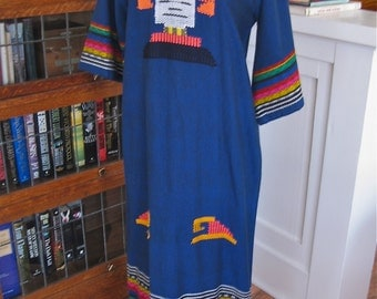 Vintage 50s Mexican Dress in Royal Blue with Embroidered Mayan Face and Quarter Angel Sleeves / Ethnic Textile