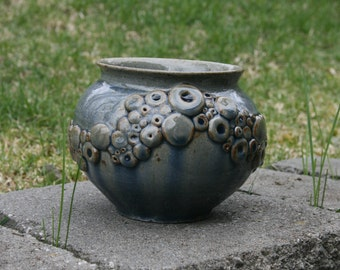 Circles Pot, Wood Fired, Stoneware Ceramic Pottery, Decorative