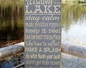 Wood Sign, Wisdom From The Lake, Lake, Cabin, Cottage, Lake House, Subway, Handmade, Word Art