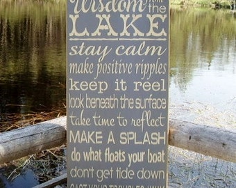 Wood Sign, Wisdom From The Lake, Lake, Custom Sign, Cabin, Cottage, Lake House, Subway, Handmade, Word Art