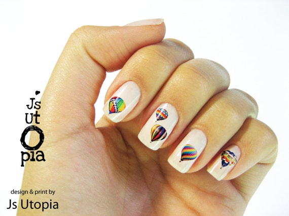 Items similar to hot air balloon nail sticker on etsy prinsesfo Choice Image