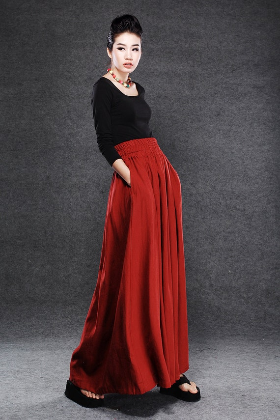 Red Linen Maxi Skirt Dark Red Full Long Skirt with