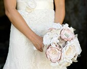 Bridal Bouquet Fabric Flower Custom Bouquet Blush Pink and Creams Brooches, Rhinestones, Pearl  Pick your Colors