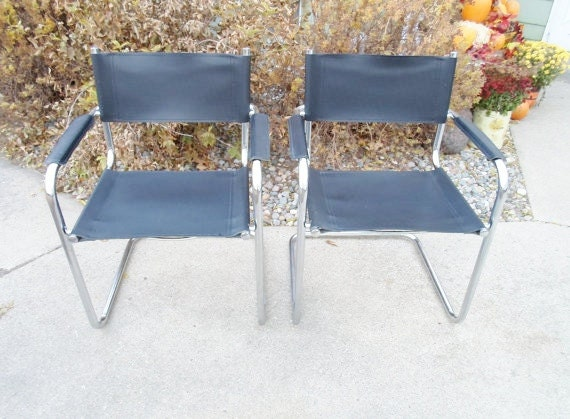 Vintage Mid Century Modern Set Of Two Chrome And Black Leather