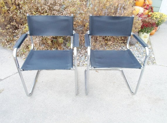 Cowhide Barstools Vintage Black White Hairhide Leather Bar: Vintage Mid Century Modern Set Of Two Chrome And Black Leather