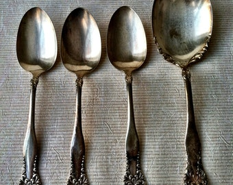 Silver-plated Serving and Soup Spoons Lenora/Leonora Pattern -Set of Four-