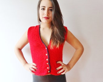 deep red golden buttoned blue lined 60's vintage sleeveless wool vest - small - medium