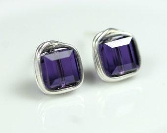 Dark Purple Earrings Wire Wrapped Jewelry Handmade Sterling Silver Jewelry Handmade Swarovski Stud Earrings Swarovski Crystal Earrings