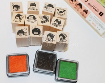 3 Cases Deco Stamp Set (with inkpad) - Wooden Rubber Stamp Set - Rubber Stamps - Girl Style