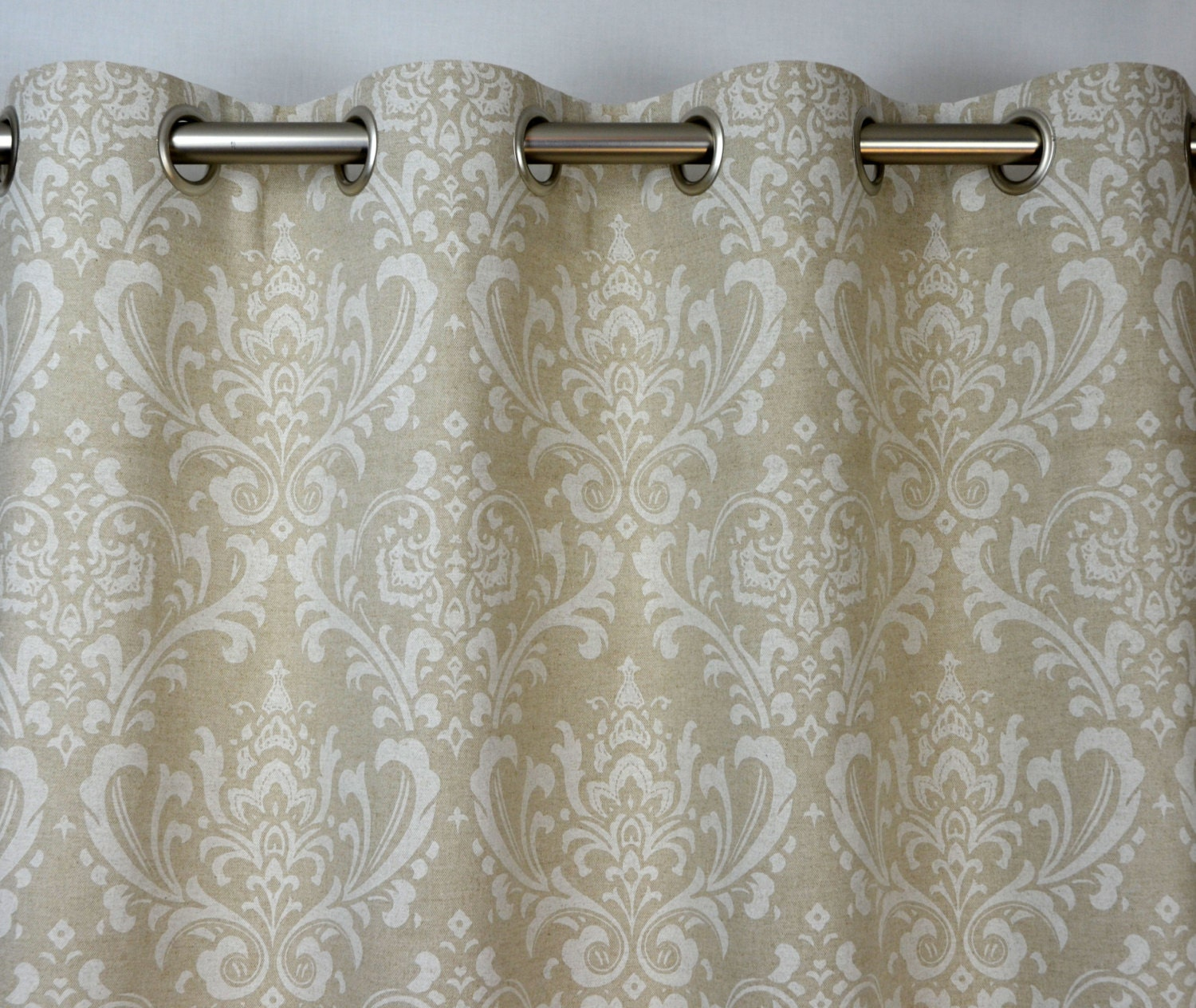Cloud light gray taupe beige ivory natural linen traditions for Beige damask curtains