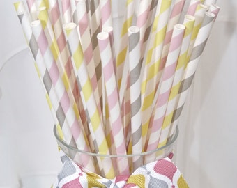 Modern Sunshine 60 assorted in sunshine Pale Yellow- silver lining Soft Grey and Rose colored Glasses pink Paper Straws ,Lemonade social