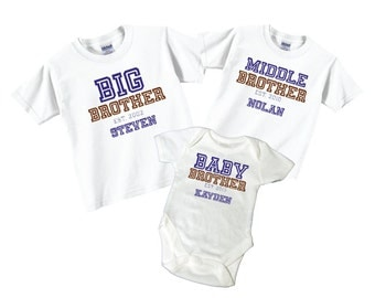 Matching Big Brother, Baby brother, Middle Brother Sibling T shirt set Tees