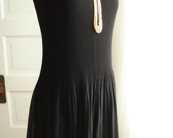 "Little Black Dress Pleated Chiffon Stretch Modern Gatsby LBD Flapper by  Helene Black 36"" Bust"