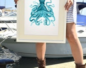 Octopus A3 plus sized Poster Wall Art -  octopus in turquoise no.09 - sea life print SPP035