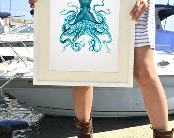 Octopus in turquoise no.09 - Octopus A3 plus sized Poster Wall Art -  sea life print SPP035