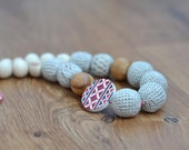 FREE SHIPPING - Rustic Nursing necklace / Teething necklace - Folk Ukrainian Embroidery - Beige, Red, Grey - Baby teether, mom jewelry
