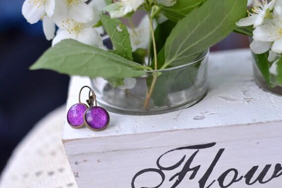 Purple Earrings - Violet Cabochon Earrings - Everyday Jewelry