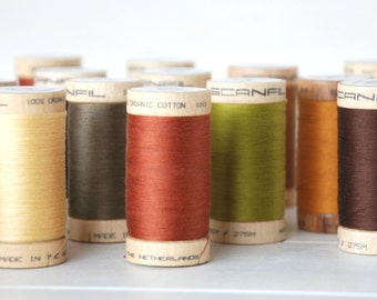 20 Spools - Mix and Match - Organic Cotton Thread - GOTS - 300 Yards Wooden Spool  - Choose 20 Colors
