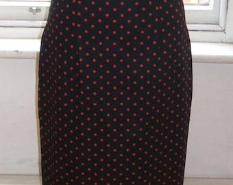 Baylis & Knight Black Red Polka LOLA High Waisted Wiggle Pencil Skirt Dita Burlesque Pin Up 50's Rockabilly