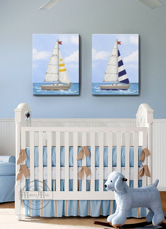 Baby Room Accessories: Sailboat Nursery Art Baby Nursery Room Decor Nautical