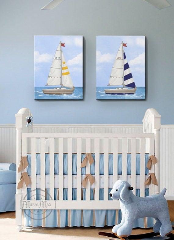 Nautical Baby Boy Nursery Room Ideas: Sailboat Nursery Art Baby Nursery Room Decor Nautical