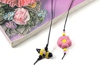 Handmade Flower and Bee Bookmark, Pink Flower Yellow & Black Bee Bookthong, Gift For Women