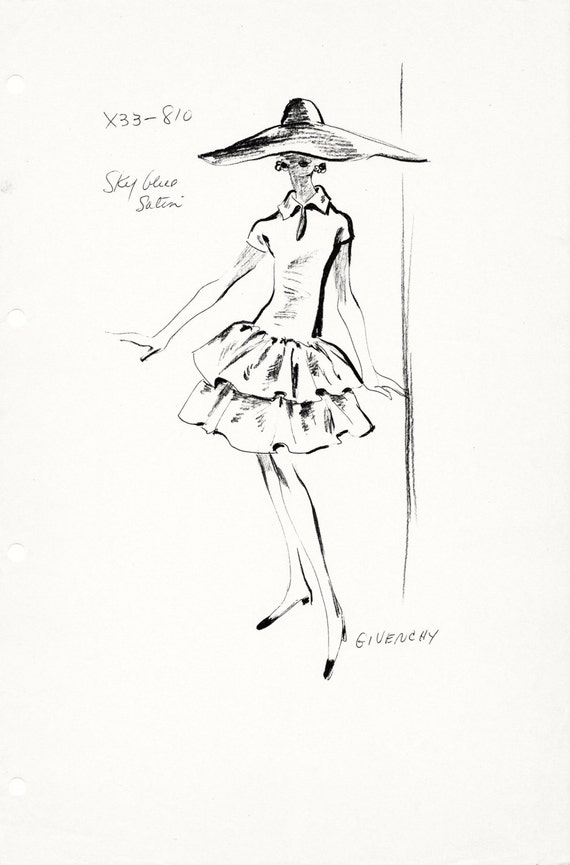 Original Haute Couture Vintage Fashion Sketch Stat Sheet by the House of Givenchy 810